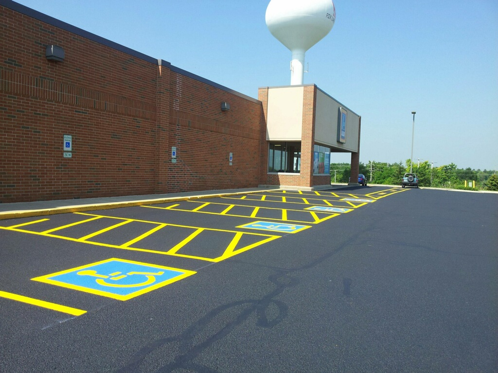 Commercial paving in a parking lot.